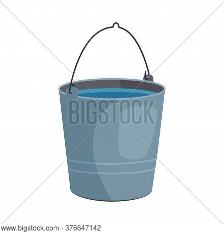 Metal Bucket Illustration. Basket, Home, Cleaning. Houseware Concept. Illustration Can Be Used For T
