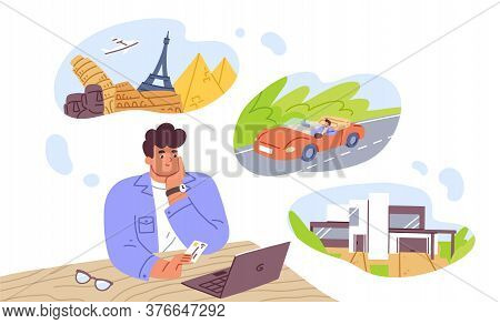 Man Think About House, Car And Vacation Vector Flat Illustration. Pensive Dreamer Male Hold Bank Car