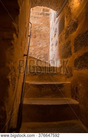 Segovia, Spain - April 24, 2019: The famous Alcazar castle of Segovia, interior stair, Castilla y Leon, Spain