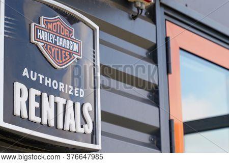 Bordeaux , Aquitaine / France - 07 07 2020 : Harley-davidson Authorized Rentals Logo Of Motorcycle S