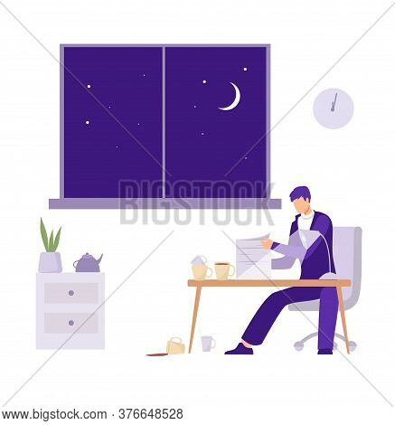Overtime In The Office Illustration. Male Character