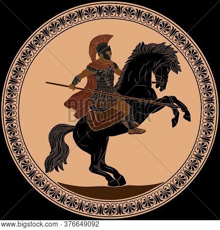 Ancient Roman Warrior With A Spear In His Hands Is Riding A Horse Ready To Attack. Vector Illustrati