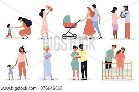 Eight Different Scenes Depicting Motherhood Showing Parents With Babies And Mothers With Kids, Color