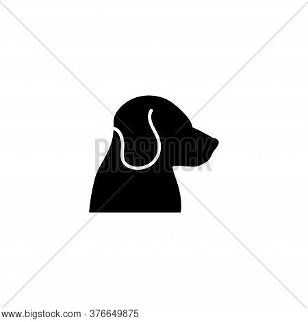 Dog Head, Labrador Retriever Face, Pet. Flat Vector Icon Illustration. Simple Black Symbol On White