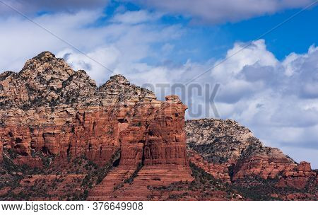 Coffee Pot Rock Formation Within Coconino National Forest, Arizona.  The Red Rock Formations Rise Ab