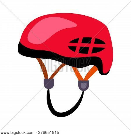 Red Climbing Helmet. Protection, Safety, Equipment. Illustration Can Be Used For Topics Like Trekkin