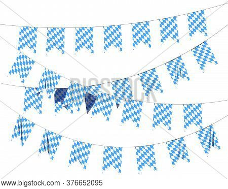 Bavaria Party Flags Buntings Of Checkered Blue Flag With Blue-white Checkered Pattern, Traditional B