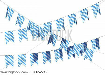 Bavarian Party Flags Garland Buntings Of Checkered Blue Flag With Blue-white Checkered Pattern, Trad