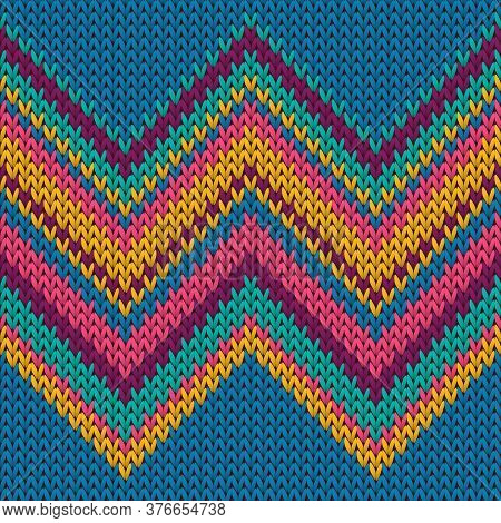 Trendy Zig Zal Lines Knitting Texture Geometric Vector Seamless. Rug Knitting Pattern Imitation. Win