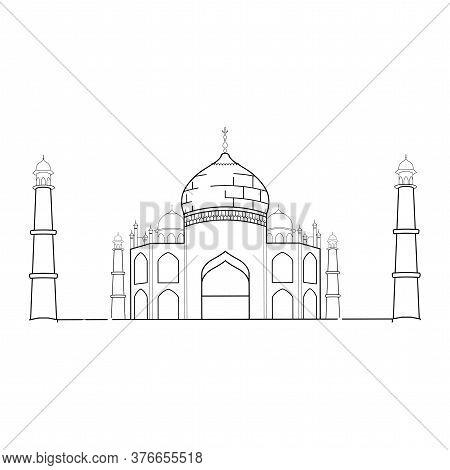 Taj Mahal Outline. Indian Famous Building - Vector