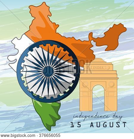 Happy Independence Day Of India. Independence Day Card - Vector