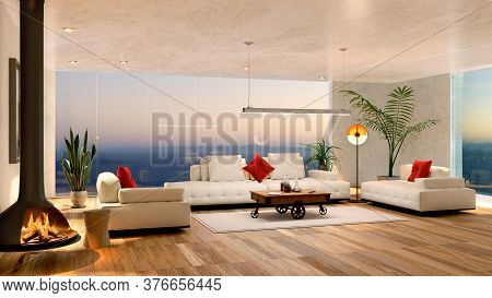 3d Illustration Of Modern Living Room With Wooden Floor. Cozy Fire Place With White Leather Couch An