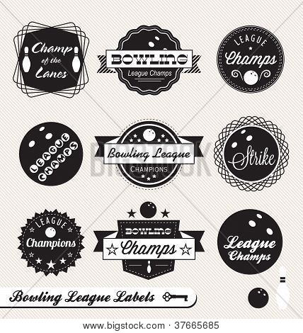 Vector Set: Vintage Bowling Labels and Stickers