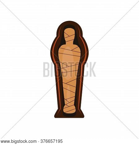 Mummy In Sarcophagus Illustration. Historic, Ancient, Antique. Ancient Egypt Concept. Cartoon Illust