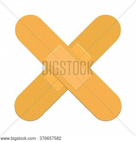 Two Crossed Adhesive Patches Flat Icon. Wound, Injury, Accident. Plaster Concept. Illustration Can B
