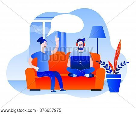 A Man And A Woman Are Sitting On The Sofa At Home. The Man Is Working On A Laptop. Vector Illustrati