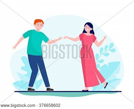 Young Couple Dancing Slow Dance. Love, Girl, Smiling Flat Vector Illustration. Entertainment And Rel