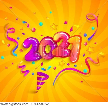 2021 New Year Greeting Banner With Inflatable Numbers, Cracker And Confetti On Sunburst Background.