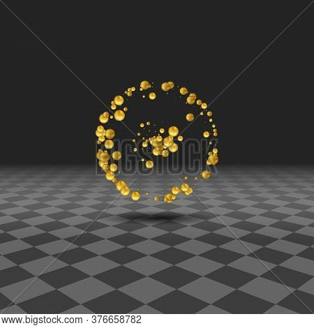 Background With Christmas Gold Baubles , Vector Illustration.