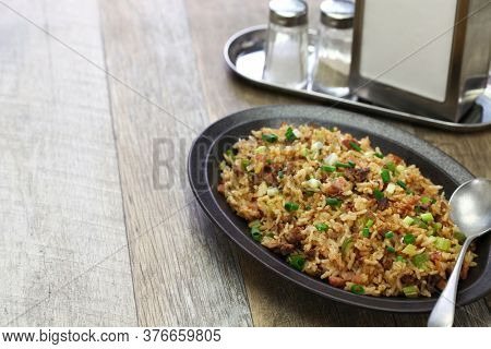 classic cajun dirty rice, southern food, copy space