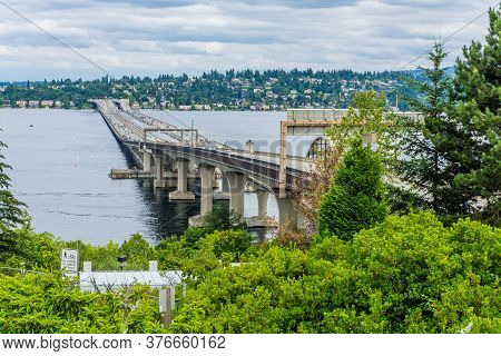 Interstate 90 Floating Bridges In Seattle, Washington. Transportaion Photo.