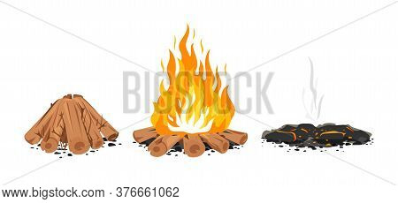 Set Of Three Campfire Stages Isolated Illustration, Firewood Ready For Fire, Campfire With Long Flam