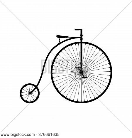 Old Bicycle Icon Isolated On White Background, Retro Penny Farthing Bike. High Wheel Vintage Bicycle