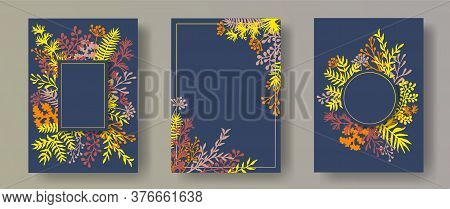 Watercolor Herb Twigs, Tree Branches, Leaves Floral Invitation Cards Collection. Bouquet Wreath Eleg
