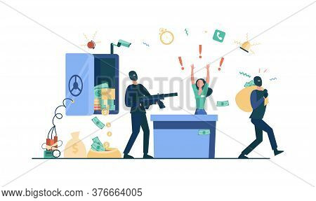 Bank Robbery Concept. Criminals In Face Masks Aiming Riffle At Bank Employee, Carrying Money Out Fro