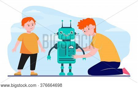 Happy Father And Son Playing With Robot. Robotics, Boy, Computer Flat Vector Illustration. Family An