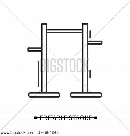 Pull Up Bar Icon. Athletics And Workout Home Gym Equipment Linear Pictogram. Concept Of Pullup And A