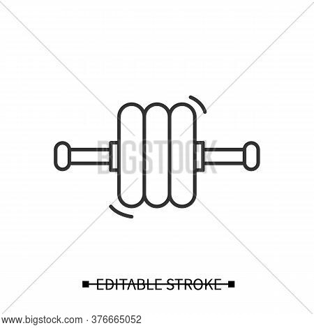 Exercise Roller Icon. Abdominal Body Training Wheel, Home Gym Equipment Linear Pictogram. Concept Of