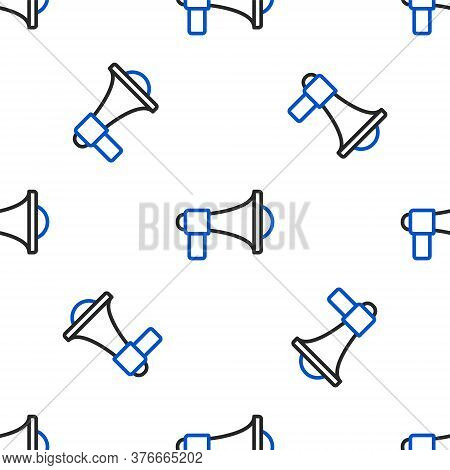 Line Megaphone Icon Isolated Seamless Pattern On White Background. Loud Speach Alert Concept. Bullho