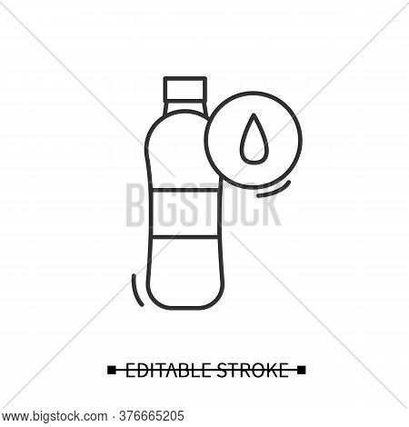 Water Bottle Icon. Sport Or Performance Drink With Liquid Line Pictogram. Concept Of Hydration And W