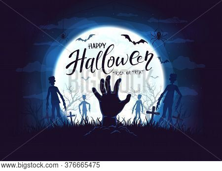 Hand Sticks Out Of Ground And Dark Silhouettes In Cemetery. Blue Night Background With Zombie, Bats
