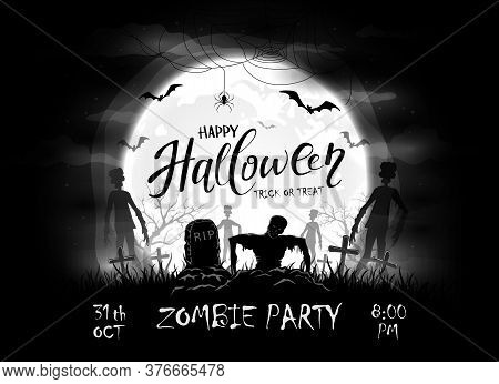 Dark Silhouette Sticks Out Of Ground In Cemetery. Black Night Background With Zombies, Bats And Spid