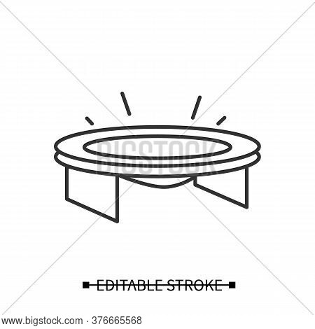 Bounce Trampoline Icon. Mini Jumping Setup Linear Pictogram. Concept Of Children Entertainment, Home