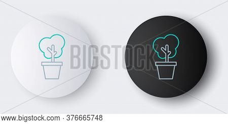 Line Tree In Pot Icon Isolated On Grey Background. Houseplant In Pots. Natural Decor For Home And In