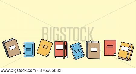 Border With Notepad, Notebooks, Diaries, And Sketchbooks Flat Vector Illustration With Space For Tex