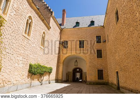 Segovia, Spain - April 24, 2019: The famous Alcazar castle of Segovia, Castilla y Leon, Spain
