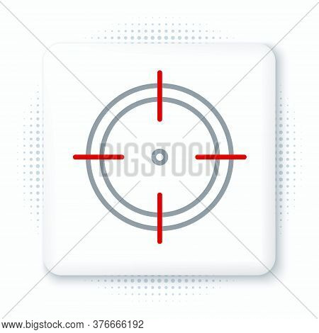 Line Target Sport For Shooting Competition Icon Isolated On White Background. Clean Target With Numb