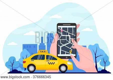 Yellow Cab On City Road. Hands Of Person Using Mobile Service For Ordering Or Finding Taxi. City Map