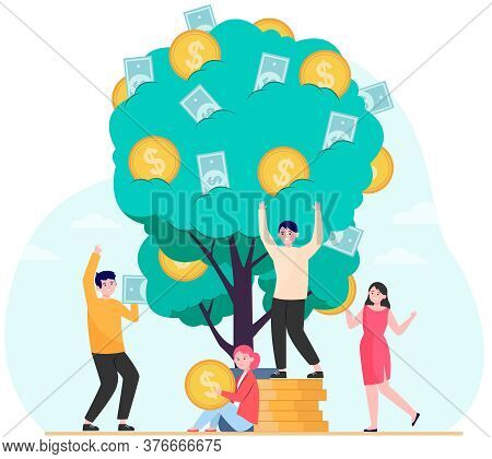Finance, Revenue, Financial Growth Concept. Rich People Growing Plant With Cash. Money Tree Metaphor