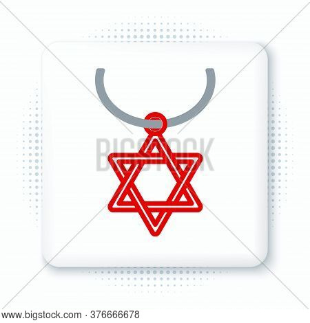 Line Star Of David Necklace On Chain Icon Isolated On White Background. Jewish Religion Symbol. Symb
