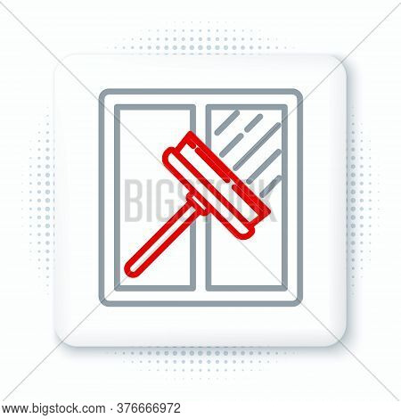 Line Cleaning Service With Of Rubber Cleaner For Windows Icon Isolated On White Background. Squeegee