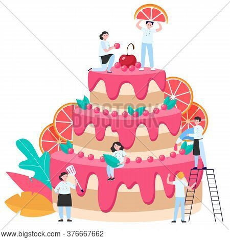 Pastry Chefs Decorating Big Wedding Or Birthday Cake With Fruit Slices And Icing. Vector Illustratio
