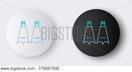 Line Rubber Flippers For Swimming Icon Isolated On Grey Background. Diving Equipment. Extreme Sport.