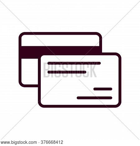 Credit Cards Icon Vector Illustration. Isolated Bank Cards Symbol. Banking Payment Line Concept. Pla