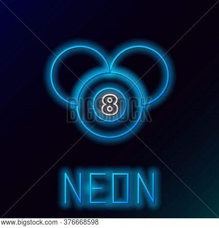 Glowing Neon Line Billiard Pool Snooker 8 Ball Icon Isolated On Black Background. Billiard Eight Bal