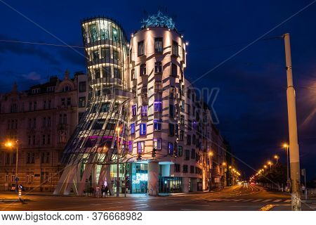 Prague, Czech Republic - July 10 2020: Dancing House Nicknamed Fred And Ginger, Called Tancici Dum I